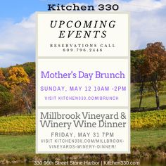 Join us for dinner this weekend and don't forget to make reservations for our upcoming Mother's Day Brunch and Wine Dinner. North Wildwood, Open Table, Wine Dinner, Mothers Day Brunch, Cape May, Wine Tasting, Fine Dining, New Jersey, Don't Forget
