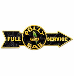Retro Polly Gas Full Service Arrow Grunge Heavy Gauge Metal Sign 80 x 27 cm - FiftiesStore.com