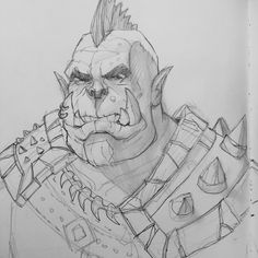 "dboehmke:  "" Traffic sketch of an Orc. Pretty much my go to comfort zone drawing  """