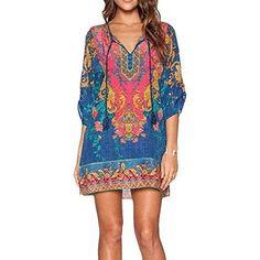 Bohemian Vintage Printed Ethnic Style Shift Dress *Plus