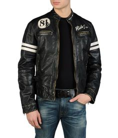LEATHER BIKER JACKET WITH VINTAGE RIDE FREE PRINT