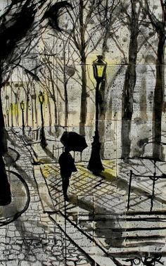 "Loui Jover; Pen and Ink, 2013, Drawing ""walking in montmartre"""