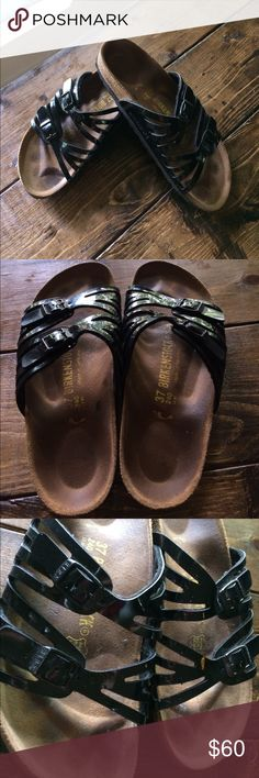Women's Birkenstock Granada Sandals 37 6.5 Has some signs of wear as pictured. Size 37 which equates to a 6.5/7. The material is a black shiny patent leather. Birkenstock Shoes Sandals