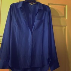 Jcrew silk long sleeve button down Beautiful royal blue silk long sleeve button down , great for a night out or for the office ! Worn a few times ! J. Crew Tops Blouses