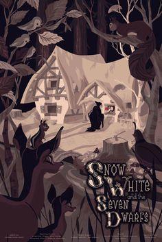 Branca de Neve e os Sete Anões - Uma coleção de pôsters dos filmes da Disney. O trabalho fica por conta dos artistas da MondoCon, um estúdio que cria conceitos totalmente inovadores para HQs, desenhos, filmes e o que mais a cultura pop tiver para oferecer