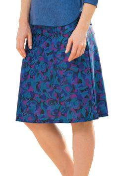Dark Floral A-Line Swim Skirt