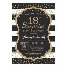 Surprise 18th Birthday Invitation. Gold Glitter Card - birthday gifts party celebration custom gift ideas diy