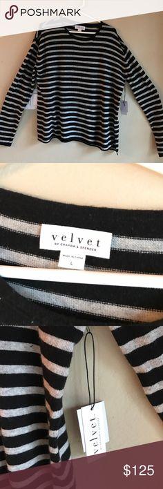 New Velvet brand sweater! Current holiday season! Gorgeous never worn cozy rolled hem striped sweater! Velvet Sweaters Crew & Scoop Necks