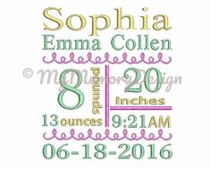Baby birth announcement subway art embroidery machine design - Embroidery pattern - Embroidery birth template design for new born babies  You can download instant in PES DST EXP HUS JEF VIP VP3 XXX file formats.  With AM and PM you will get the design.  You will receive 3 sizes.  For 4x4 hoop - will look wonderful on a baby clothes For 5x7 hoop - will look wonderful on a tote bag For 6x10 hoop - will look wonderful on a pillow  Please note that this is a TEMPLATE only, you need to have an…