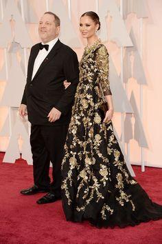 Mega-producer Harvey Weinstein and wife/Marchesa designer, Georgina Chapman - Academy Awards 2015 red carpet