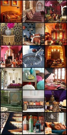 Gorgeous Moroccan interior design. A little collage put together by myself. An explosion of colours - very inspiring!