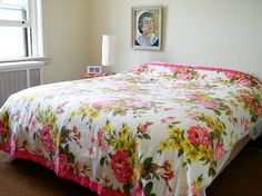 Unused vintage rose patterned blanket ~ Kitsch Café