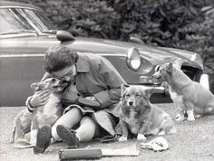 The Queen with her Corgis at Windsor in 1973