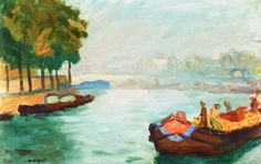Banks of the Seine, Paris - Albert Marquet - The Athenaeum Private collection Dates: circa 1896 Artist age: Approximately 21 years old. Dimensions: Height: 27 cm in.) Medium: Painting - oil on canvas Henri Matisse, Great Paintings, Landscape Paintings, Bordeaux, Raoul Dufy, Ile Saint Louis, Georges Braque, Vintage Artwork, French Art