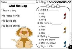 Comprehension Worksheets For Kindergarten Kindergarten Kindergarten Language Arts, Kindergarten Reading, Reading Activities, Kindergarten Worksheets, Teaching Reading, English Kindergarten, Learning, Literacy Activities, Guided Reading