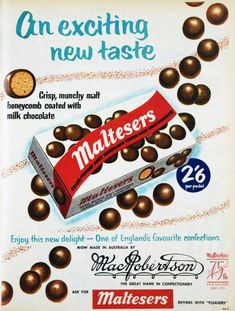 An exciting new taste - Maltesers! Now in Australia! 1955.