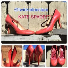 """❗️SALE❗️KATE SPADE PUMPS! KATE SPADE New York PINK PUMPS! These stunners are classic, elegant, and sexy! Patent Leather in a Pink/Coral iridescent, just gorgeous color. In excellent condition. Adjustable straps, 4"""" Heel. MADE IN ITALY. PRICE FIRM UNLESS BUNDLED. kate spade Shoes Heels"""