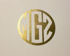 Metallic Gold Foil 3 Letter Monogram by LittleLoftStudio on Etsy
