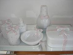 Kit Higiene Linha Laços (2 Potes e 1 Molheira). R$ 174,20