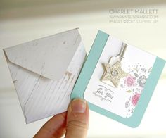 3x3 Love notes and handmade paper wood envelope using the Wood Words stamp set. Charlet Mallett - Stampin' Up!