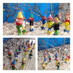 Paisaje nevado y esquiadores hechos por niños de 4 años  para trabajar el tema del invierno. Colegio Nstr. Sra. Santa María. Madrid