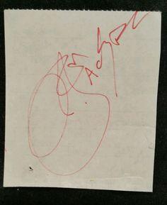 Bon Scott of AC/DC 1970s Original Autograph, signature on paper/Rock Band singer