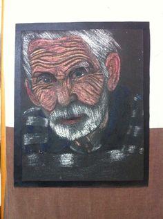 Abuelo Lápiz de color sobre lija
