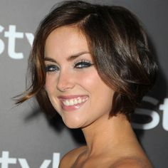 Volumized Bob   Most hairstylists suggest wearing bobbed hair flat to avoid excess poof, but Jessica Stroup gave her hair a lift that makes the style look sexy! To get the look, work volumizing mousse into the roots of damp hair to achieve texture. Next, finger-dry under a blow-dryer, then lightly brush the surface without deflating any height.