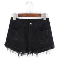 Frayed Black Denim Shorts (380 CZK) ❤ liked on Polyvore featuring shorts, black, denim short shorts, jean shorts, frayed shorts, short jean shorts and frayed jean shorts
