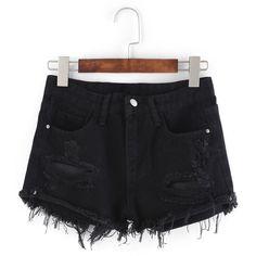 Frayed Black Denim Shorts (380 CZK) ❤ liked on Polyvore featuring shorts, black, denim short shorts, jean shorts, frayed shorts, short jean shorts and frayed jean shorts