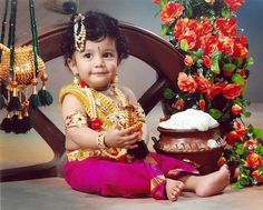 Janmashtami is celebrated widely across India and is the day of Lord Krishna's birth. It is a major festival in India, with different states celebrating it differently. Baby Fancy Dress, New Baby Dress, Fancy Dress For Kids, Baby Dresses, Monthly Baby Photos, Cute Baby Pictures, Baby Krishna, Lord Krishna, Indian Baby