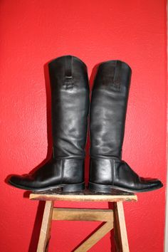 vtg leather TALL EQUESTERIAN MARLBOROUGH english boots by Taite, $53.00