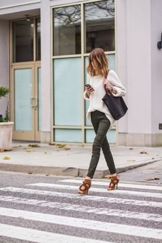 Dressed up a casual look with fun heels| @andwhatelse