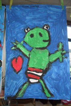 schilderwerk kikker is verliefd.