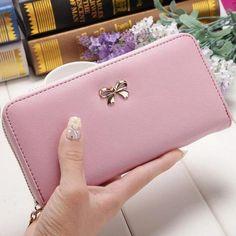 3f3e3d62c8 2018 Fashion Cute Bowknot Women Long Wallet Pure Color Clutch Bag Purse  Phone Card Holder Bag Wallet