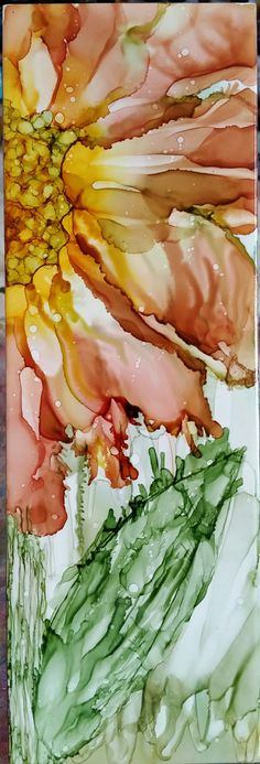 Large flower in alcohol ink on 12x4 ceramic tile by Tina