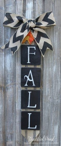 Rustic FALL Wall Hanging Burlap Chevron Wreath by ToadstoolPond, $36.00