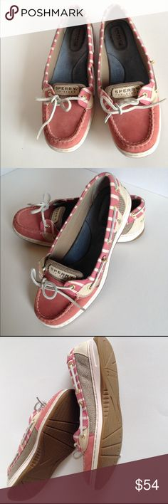 Sperry Top-Sider Women's Angelfish loafers Cute, excellent condition (worn twice) Red/Bretton stripe Sperry top sider womens loafers.  Looks more like a deep rose color to me. Upper part of shoes ate made of stain & water resistant leather, accentuated with breathable fabric. The Angelfish features runber soles to ensure traction on watery surfaces. Rust proof eyelets.  No Trades!  8 1/2 M Sperry Top-Sider Shoes Flats & Loafers