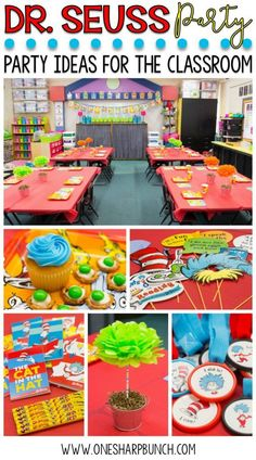 Seuss birthday party ideas for the classroom, including DIY truffula trees and green eggs and ham pretzels – perfect for your Dr. Seuss classroom activities and Read Across America week! Dr. Seuss, Dr Seuss Week, Dr Seuss Activities, Kindergarten Activities, Classroom Activities, Classroom Decor, Sequencing Activities, Classroom Party Ideas, Ideas Party