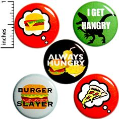 Funny Hangry Buttons Pins Always Hungry Food Humor 5 Pack Gift Set 1 Inch Funny Buttons, Bag Pins, Jacket Pins, Work Gifts, Always Hungry, Funny Pins, Funny Memes, Food Humor, Little Gifts