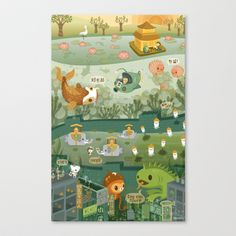 The Octonauts Explore the East Stretched Canvas by Meomi - $85.00