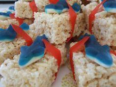 Shark Sushi Treats - use shark gummy candy, red fruit leather, Rice Krispie Treats