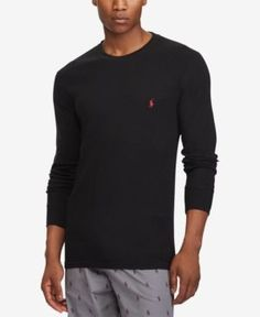 Polo Ralph Lauren Men's Lightweight Waffle-Knit Thermal Shirt - Black 2XL