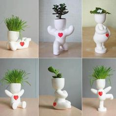 Cute plant holders the right plant really makes the person is part of Flower planters - House Plants Decor, Plant Decor, Flower Planters, Flower Pots, Clay Crafts, Diy And Crafts, Pot Plante, Unusual Flowers, Cactus Y Suculentas