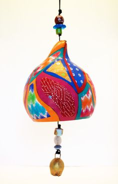 Patchwork Design Gourd Windchime by jdomerdesign on Etsy Lamb Craft, Lawn Decorations, Gourd Crafts, Gourd Lamp, Patchwork Designs, Gourds, Wind Chimes, Bird, Country