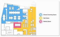 Coworking floorplan Office Layout Plan, Office Plan, Office Layouts, Coworking Space, Color Plan, Future Office, Workplace Design, Co Working, Bed Design
