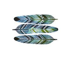 chevron feathers temporary tattoos from watercolour illustration set of 3 -Limited Edition Artist- Marisa Redondo River Luna. $5,00, via Etsy.
