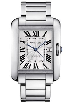 Cartier Tank Anglaise stainless steel watch, large