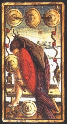 Five of Coins:  Five of Coins from the Sola Busca Deck:  Meaning of Five of Coins from the Sola Busca Deck   Upright:   Financial security. Professional or commercial robustness.   Reversed:   Sleeping on the job. Inattention to detail.  source: Italian Tarot/Sola Busca/Italy, c.1491