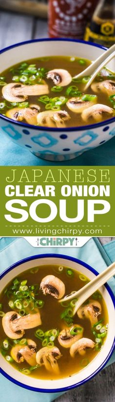 Soup A quick and easy Japanese Clear Onion Soup, perfect starter for a Japanese or Asian themed dinner.A quick and easy Japanese Clear Onion Soup, perfect starter for a Japanese or Asian themed dinner. Think Food, Food For Thought, Sopas Light, Sopas Low Carb, Japanese Diet, Japanese Soup, Japanese Mushroom Soup, Japanese Onion Soups, Japanese Salad
